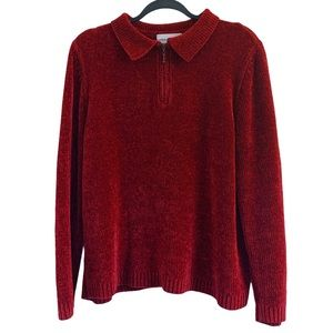 Alfred Dunner Sweater Chenille Holiday 1/4 Zip